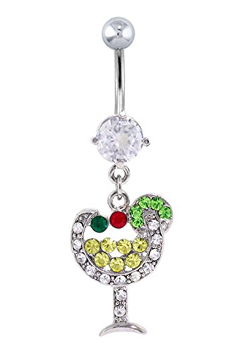 Party Margarita Paved Gems Drink Vacation dangle Belly button navel Ring piercing bar body jewelry 14g