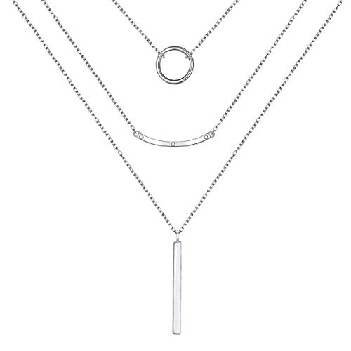 JZMSJF Layered Necklace S925 Sterling Silver 3 Multi Layer Boho Long Necklace with Circle Bar CZ Pendant Chic Fashion Gift for Women Girls Wife Girlfriend
