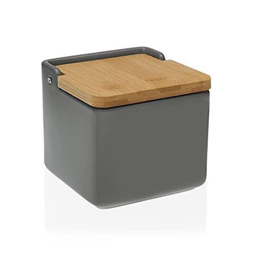 TIENDA EURASIA® Salero de Cocina de Cerámica con Tapa de Bambú Diseños Originales - 12,2 x 12,2 x 11,5 cm (Gris, Salero - 12,2 x 12,2 x 11,5 cm)