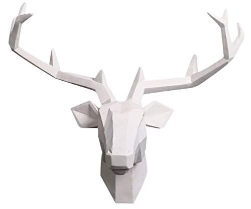YJ Home Deer Head Wall Mounted - White Deer Head Sculpture,Stag Head Wall Decor (Large, White Deer 1) …