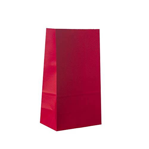 Red Party Favor Bag - 50 Pack Red Kraft Paper Lunch Food Grade Gift Bags for Chinese New Year, Valentine's Day, Christmas and 4th of July - 5'x3'x9'
