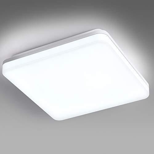 EDISLIVE Plafoniera LED, IP44 lampada da soffitto o parete per bagno, luce bianca naturale 6000K LED integrati 24W Ø28cm, Interno Lampada a Soffitto Per Camera da letto,Cucina,Corridoio,Ufficio,Bagno