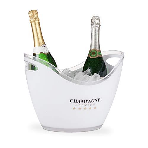 Relaxdays Sektkühler, Champagne Premium, 6l Volumen, Getränke kühlen, Champagnerkühler HxBxT: 25,5 x 34,5 x 26 cm, weiß