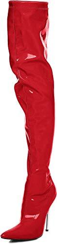 Overknee High Heels mit Chrom Absatz schwarz,rot, pink, weiß (43, Rot)