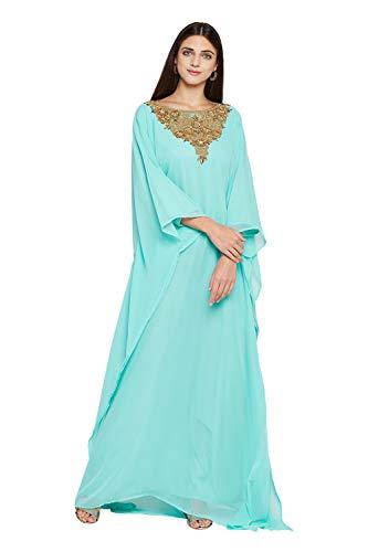 ANIIQ Dubai Farasha Kaftan für Damen, lange Ärmel, Abendkleid, Party, Hochzeitskleid mit gratis Schal - Grün - 5X-Groß