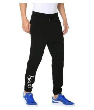 REAL STYLE Men's Black one 8 Polyester Lycra Lowers/Track Pants Regular for Men gyming