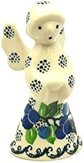 Polish Pottery Angel Figurine - Small - Blue Berries