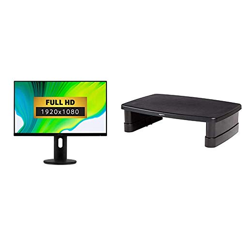 Acer ET241Y 23.8 inch FHD Monitor (IPS panel, 4ms, HDMI, VGA, Black) & Amazon Basics Adjustable Monitor Stand