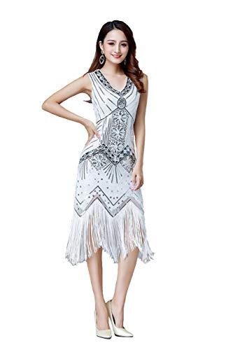 Grouptap 1920er Jahre weiße V-Ausschnitt Flapper Gatsby Pailletten gesäumt Formale langes Kleid für Womens 1920 ausgefallene Hochzeitskostüm (Weiß, EU 38)