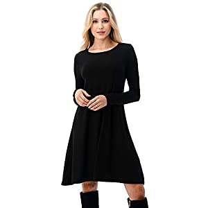 Women's Long Sleeve T Shirt Dresses Casual Swing Dress