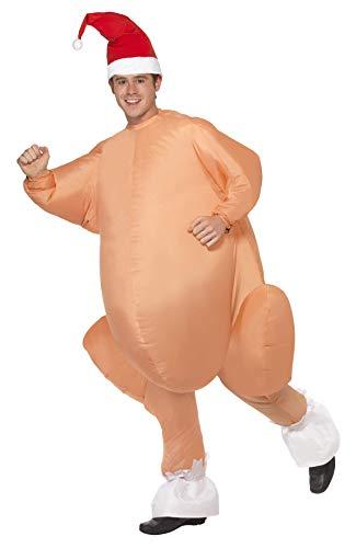 Smiffy's Smiffys Costume tacchino arrosto gonfiabile, body, cappello e valvola autogon Uomo, Colour carne, Taglia unica, 32769