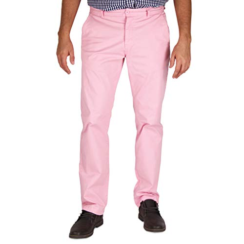 Mens Modern Stretch Fit Flat Front Casual Pants (Light Pink, Size 40W x 32L)