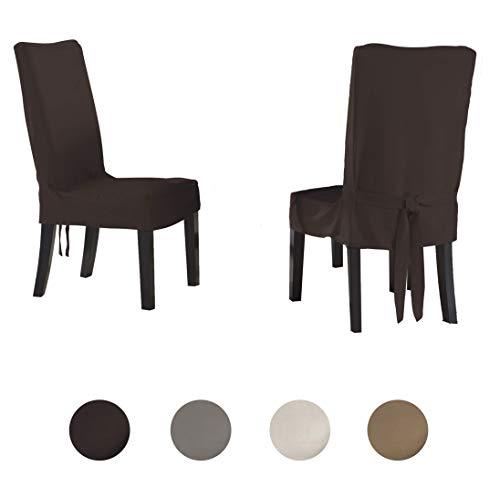 Serta – Funda para silla  de comedor regular, color Chocolate, Silla de comedor pequeña