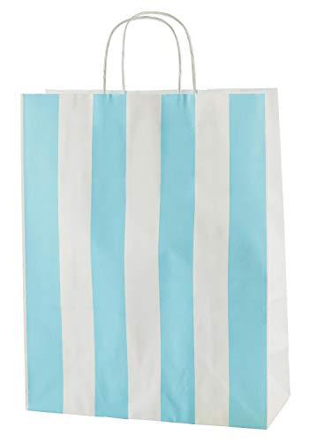 Thepaperbagstore 20 Bolsas De Papel De Colores, Reciclables Y Reutilizables, con Asas Retorcidas, Rayas Blancas y Azul Claro - Mediana 250x110x310mm