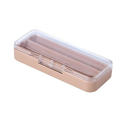 Aexle Caja de almacenamiento para pintalabios con espejo, dos compartimentos con tapa de plástico, luz de bajo consumo y pequeña caja de maquillaje portátil