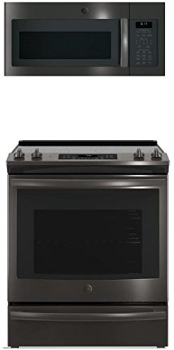 "GE 2-Piece Kitchen Appliance Package with JS760BLTS 30"" Slide-in Electric Range and JVM6175BLTS 30"" Over-The-Range Microwave in Black Stainless Steel"