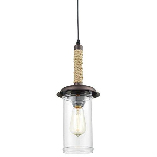 YOBO Lighting - Lámpara de techo colgante de cristal con cuerda de cáñamo