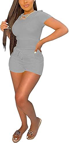 Jumpsuits for Women - Casual Tank Tops + Plus Size Biker Shorts 2 Piece Yoga Sets Grey