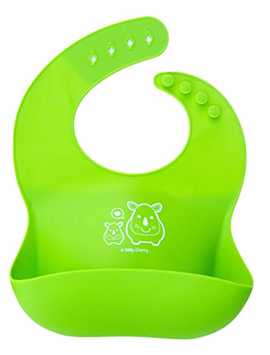 A Baby Cherry Bib 21st Century Waterproof Silicone Bib for Feeding Infants and Toddlers (6M to 5 Yr) - Unisex Set of 2 Silicone Bibs (Green)