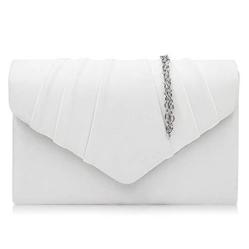Milisente Clutch Damen, Elegante Wildleder Clutch Umschlag Crossbody Klassisch Clutch Tasche Abendtasche (Weiß)