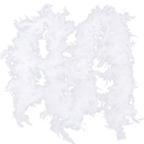 LICHENGTAI 2M Federboa, Weiße Federn des Weihnachtsbaumes, Weihnachtsband Weiße Feder Boa Streifen, Boa-Streifen für Weihnachtsbaum, Party-Girlande, Party Dekor