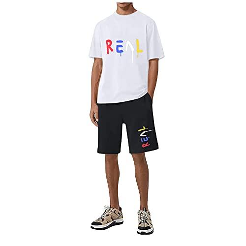 Chándal para hombre de ocio, pantalones cortos y camiseta para correr, para verano, para el tiempo libre, juego de entrenamiento y ropa Blanco L