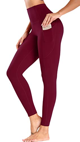 Olacia Leggings with Pockets for Women High Waisted Tummy Control Soft Workout Leggings,Wine Red, X-Large