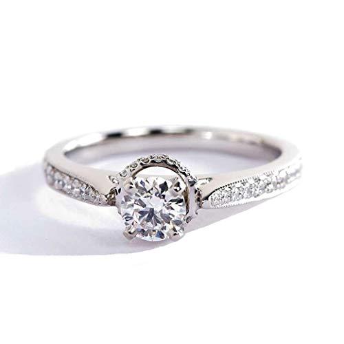 Anillo de compromiso de platino de 0,50 quilates VS2 F con diamante de corte redondo y milgrain
