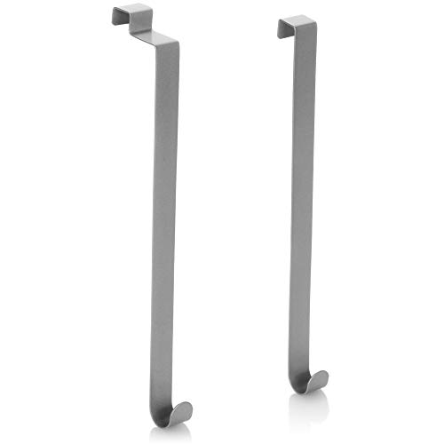 com-four® 2X Haken für Türkranz - Türhaken für Kranz - Türkranz-Haken aus Metall - Deko-Kranz Aufhänger für Haustür innen und außen - 26 cm (02 Stück - grau)