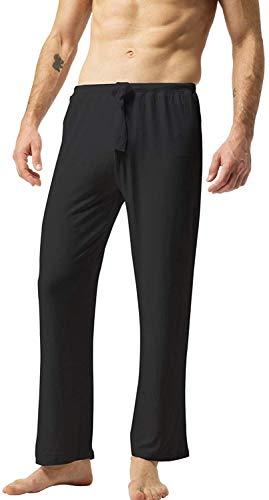 ZSHOW Homme Pantalon de Sport en Coton Souple Yoga Bas de Pyjama Super Soft Pantalon Longue avec Ceinture Décontracté Confortable Noir Large
