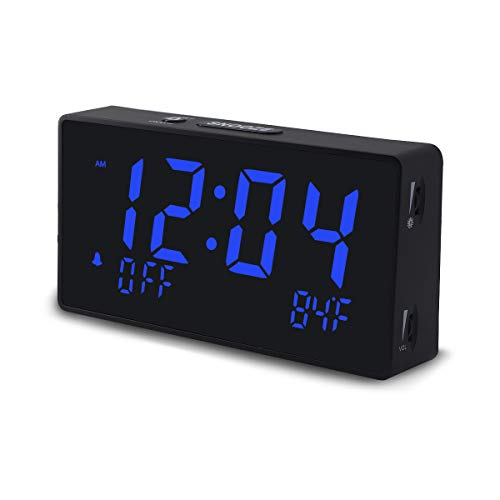 Digital Alarm Clock for Bedroom with Large Numbers LED Display, Dimmable Brightness, Adjustable Alarm Volume, 12/24H, Temperature, USB Charging Port, Plug in Powered, Comes with Adapter (Blue)