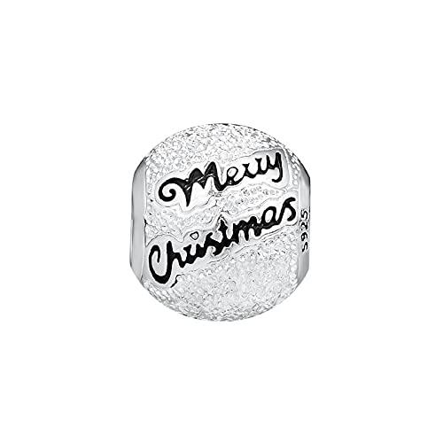LISHOU DIY 925 Plata Esterlina Feliz Navidad Carta Mate Forma Redonda Bola Charm Beads Fit Pandora Pulsera Collar para Mujer Joyería Que Hace Regalo