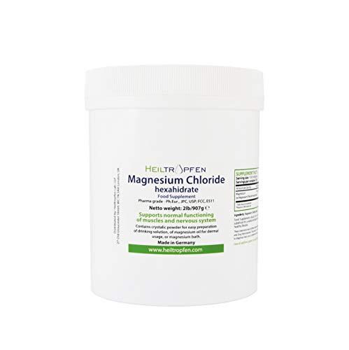Heiltropfen Chlorure de Magnésium 907g, hexahydraté, Qualité Pharmaceutique, Poudre de Cristal, Pur Ph. EUR, BP, USP, 100% Comestible - soulagement de Douleur de Muscle