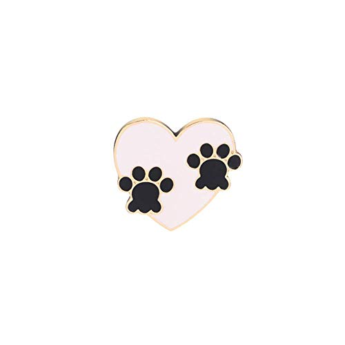 YINLIN Cute Love Heart Shaped Dog Cat Paws Brooch Pins for Dog Lovers
