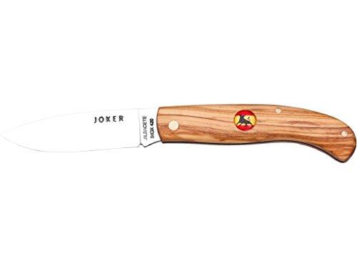 Zakmes Joker NO77-20 met Spaanse vlag stier, handvat van olijfhout, blad 7 cm staal 420, visgereedschap, Jacht, kamperen en wandelen
