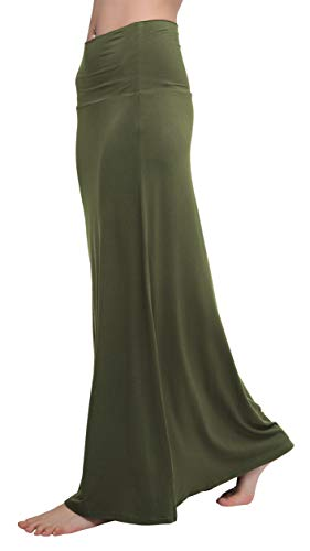 Urban CoCo Women's Stylish Spandex Comfy Fold-Over Flare Long Maxi Skirt (S, Army Green)