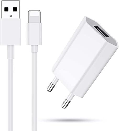 Wiselead USB Ladegerät und Ladekabel USB Netzteil und Phone Kabel mit intelligent Technologie USB Ladeadapter kompatibel mit iPhone 11,12 XS,XS, Max,XR,X, 8,8 Plus,7,7 Plus, 6s, 6/6 Plus,5S,5 usw