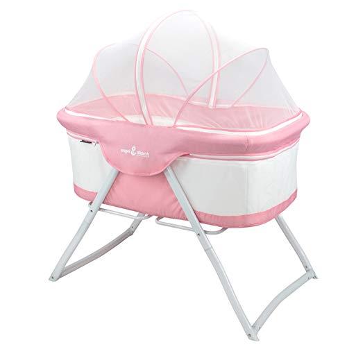 Engel & Storch BEBITO Cuna de bebé de viaje plegable Minicuna con mosquitera (rosado)