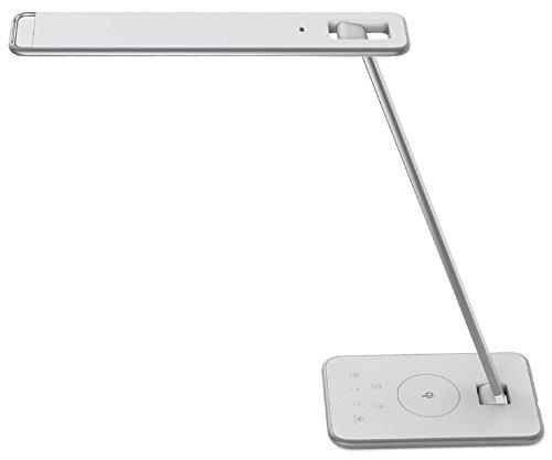 UNILUX LED bureaulamp Jazz wit met inductieve oplaadfunctie voor smartphone USB-aansluiting Wireless QI oplader, tafellamp met smartphone oplaadfunctie voor draadloos opladen