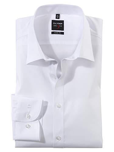 OLYMP Herren Oberhemd Langarm Level Five,Uni,Body fit,New York Kent,Weiß 00,38