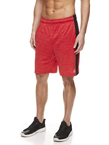 Reebok Men's Drawstring Shorts - Athletic Running & Workout Short w/Pockets - Boulder Set Racing Red Heather, Medium