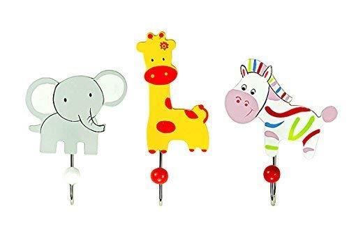 Kinder oder Baby Kleiderhaken Garderobenhaken Wandhaken Safari-Tier Dschungel Elefant Giraffe und Zebra aus Holz für Jungen oder Mädchen Kinderzimmer