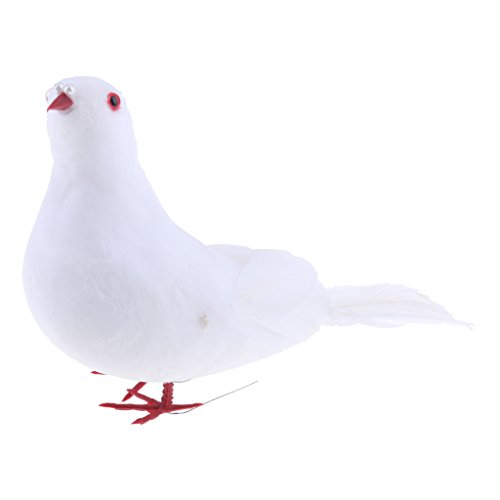 Pluma De Espuma Artificial Paloma Blanca/Pigeon Bird Decor Craft Handmade - 2