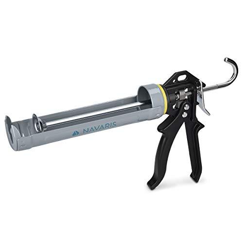 Navaris Pistola silicone in metallo alluminio - Pistola con impugnatura ergonomica per cartucce 310ml con gancio scala - per colla sigillanti ed altro