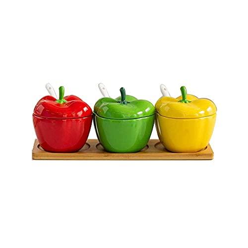 Spice opslag chili vorm keramische kruiden jar combinatie set zout suiker jar creatieve opslagkunst doos Kruiden potten…