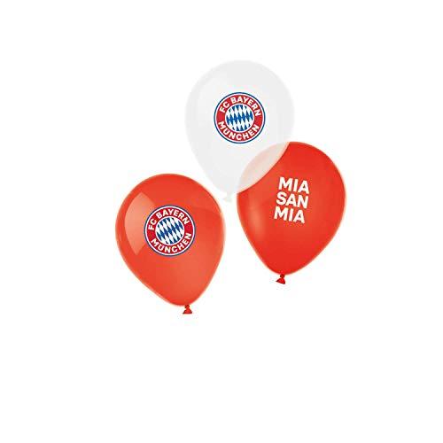 """Amscan 9906514 - FC Bayern München Latex-Luftballons, 6 Stück, Größe 27,5 cm / 11\"""", mit Luft / Helium befüllbar, Partydeko für die Feier beim Fanclub oder die Fußballparty"""