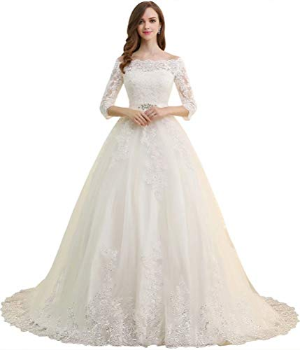 DressilyBee Women's Tulle Off Shoulder Sequin Lace Appliques Ball Gown Long Sleeve Wedding Dress Ivory