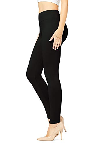 Conceited Buttery Soft High Waisted Leggings for Women in Reg and Plus Size - Womens Yoga High Waist 25 Colors Full Length Midnight Black - Plus Size