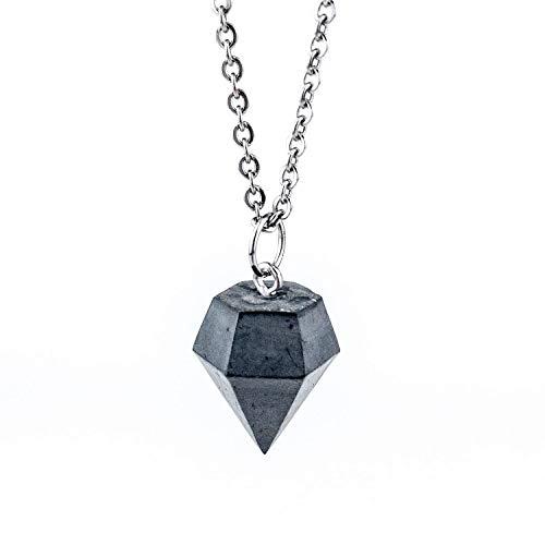 Black Edition - Kette mit Beton-Diamant inkl. Geschenkschachtel