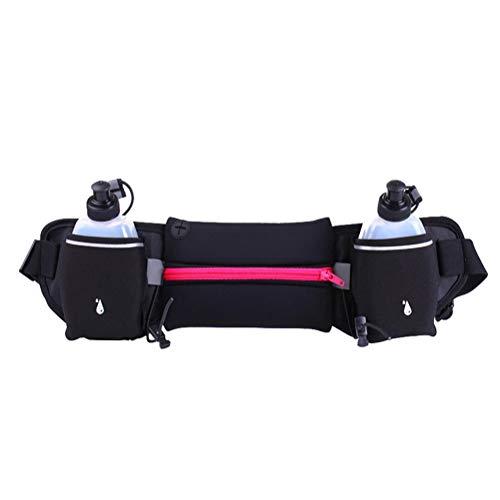 AWJK Doble Caldera Sport Paquete de la Cintura al Aire Libre Correr Cintura de la Correa del Bolso Bolso del teléfono móvil libremente Longitud Ajustable y reflexivo Diseño,B:Pink